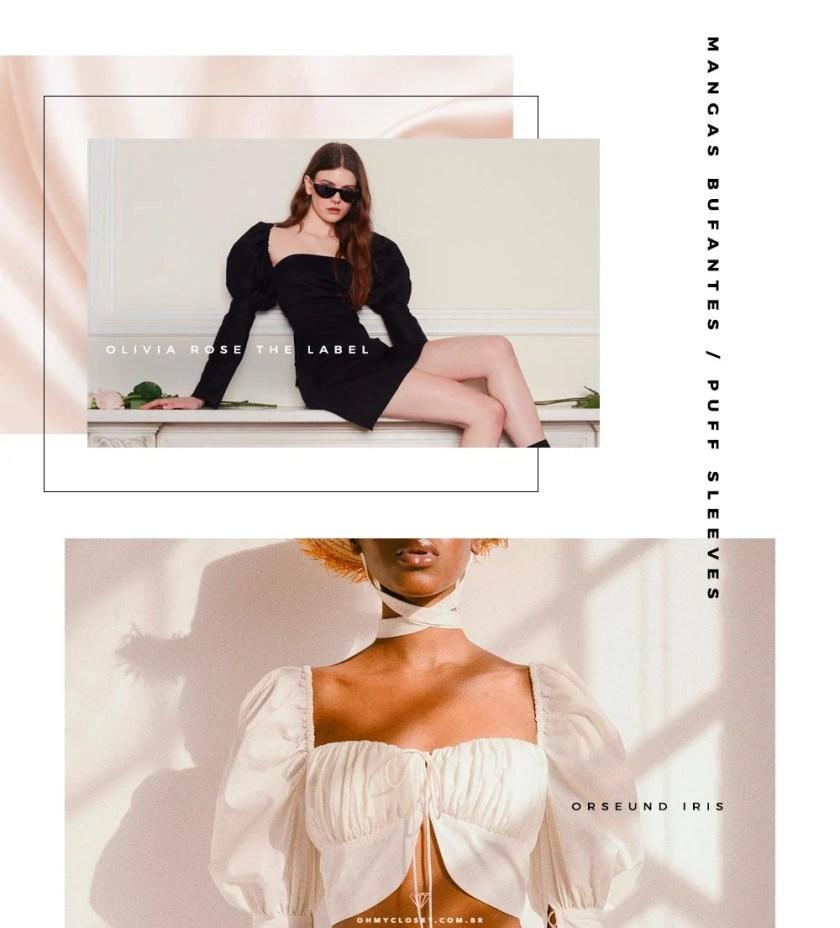 Olivia Rose The label e Orseund Iris estão se destacando pelo uso das mangas bufantes, ou puff sleeves.