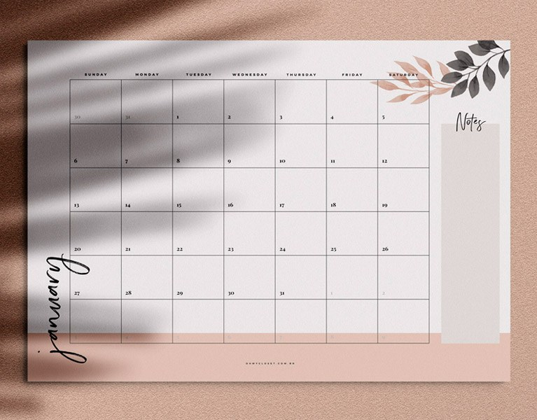 Monthly Planner mensal minimialista do Oh My Closet para download grátis.