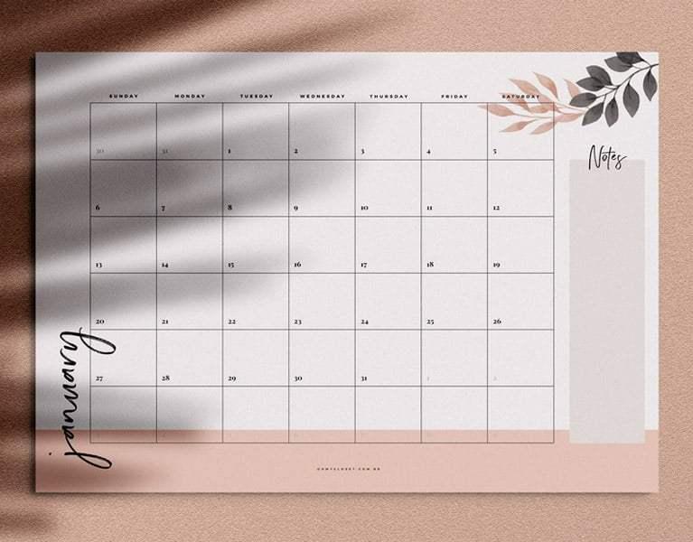 Monthly Planner mensal minimialista do Oh My Closet para download grátis.