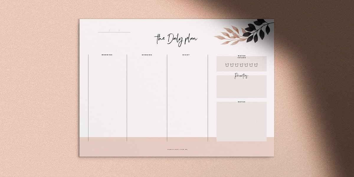 Planner diário grátis para baixar em design minimalista, no Oh My Closet.