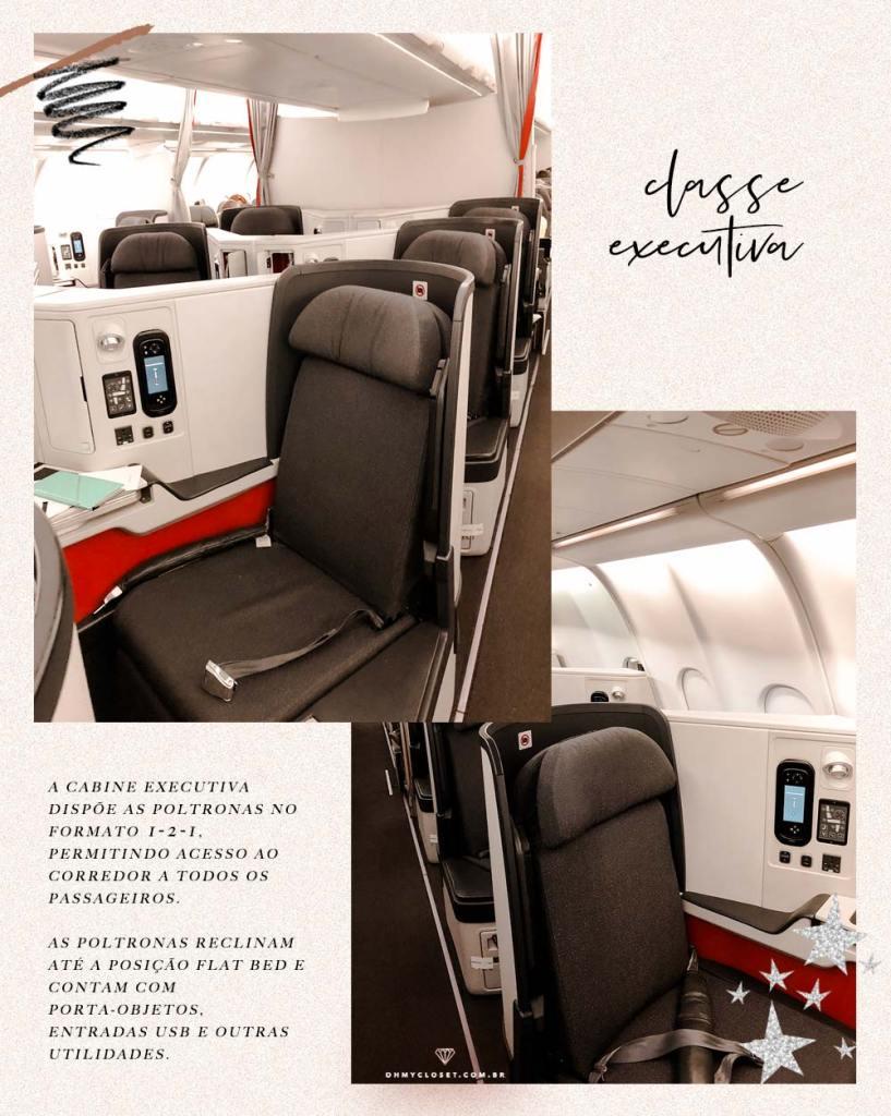 Poltronas no formato 1-2-1 na cabine executiva da Avianca Brasil.