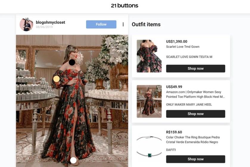 Onde comprar vestido de festa Teuta Matoshi com manga bufante, veja no app 21 Buttons.