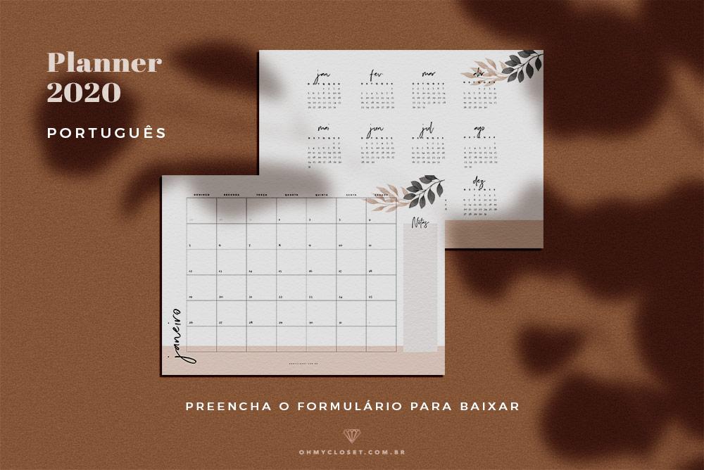 Planners 2020 Gratuitos para Fazer Download e Imprimir
