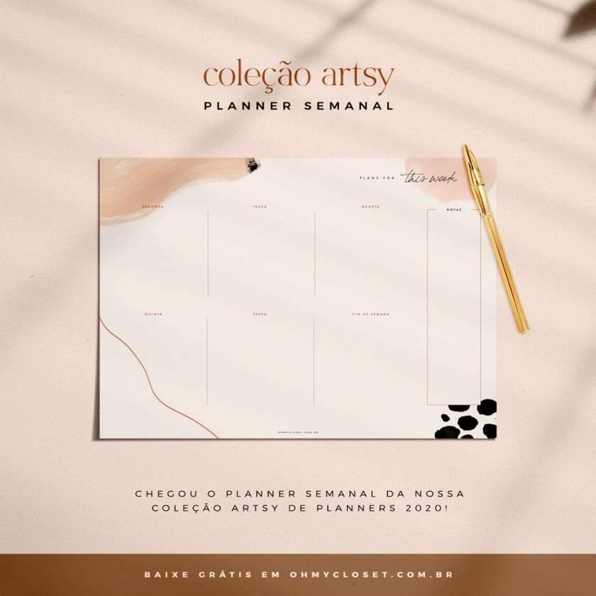 Planner Semanal Artsy do Oh My Closet!