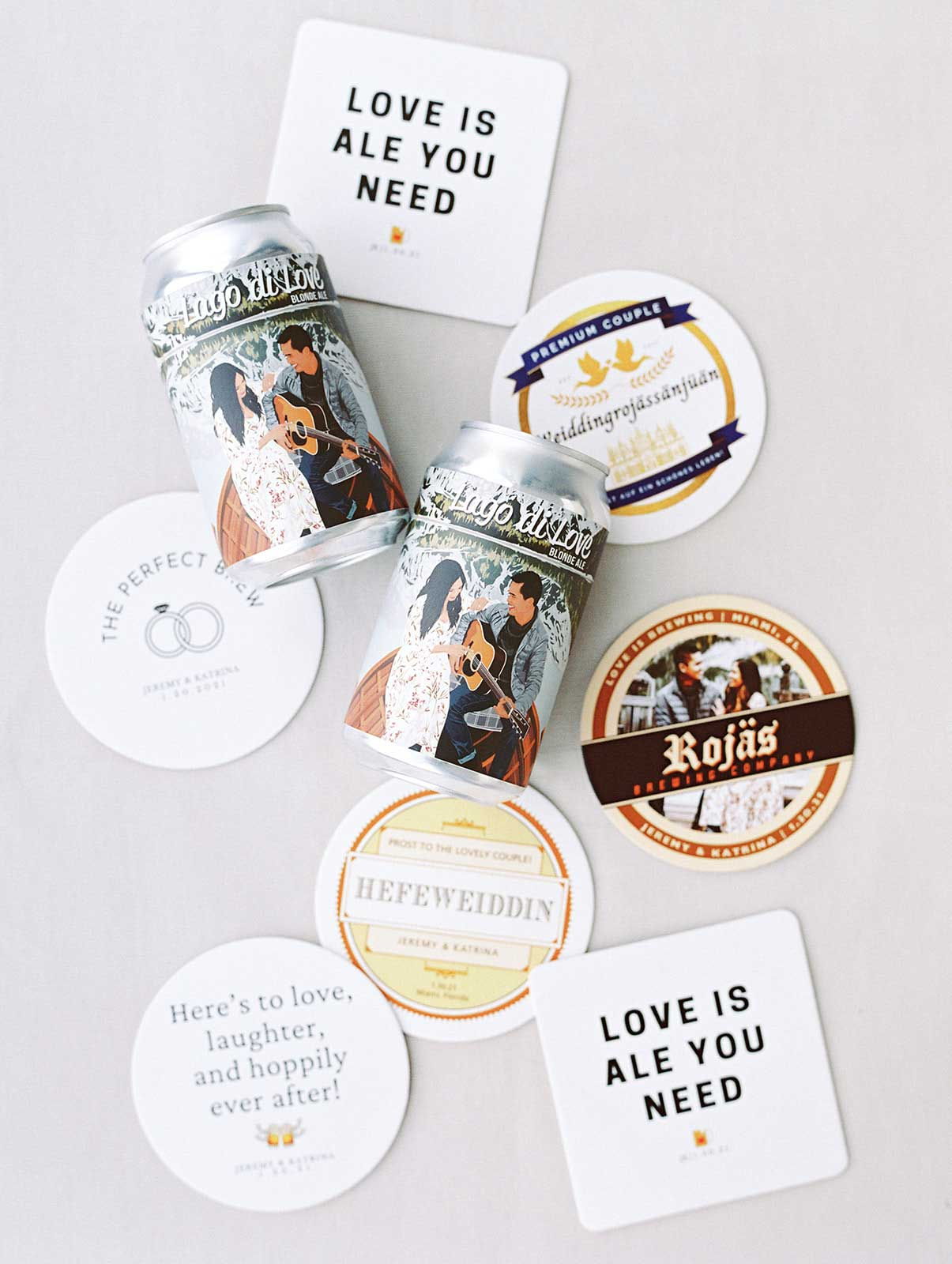 personalized wedding beer drinks and coasters.