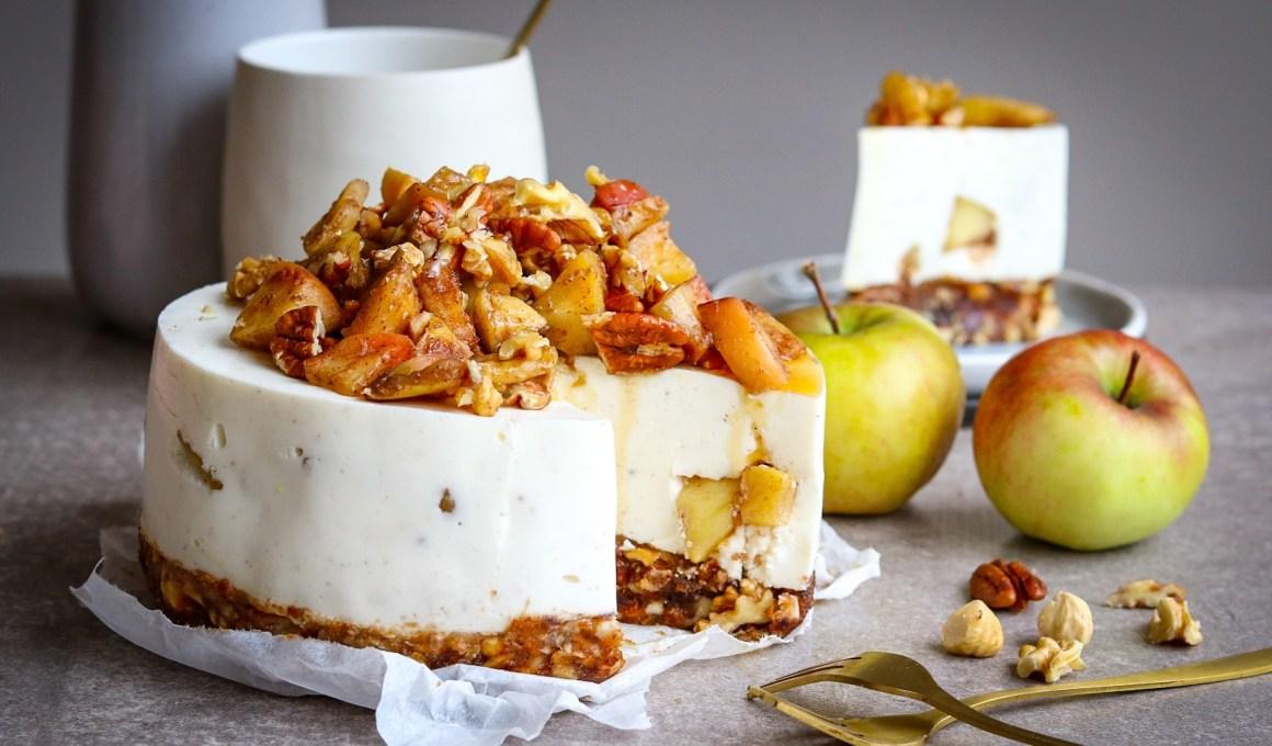 No-bake appeltaart cheesecake, glutenvrij én vegan!
