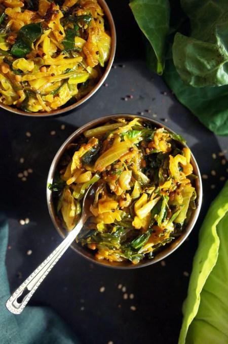 Two bowls of Patta Gobi Sabji with Spring Greens