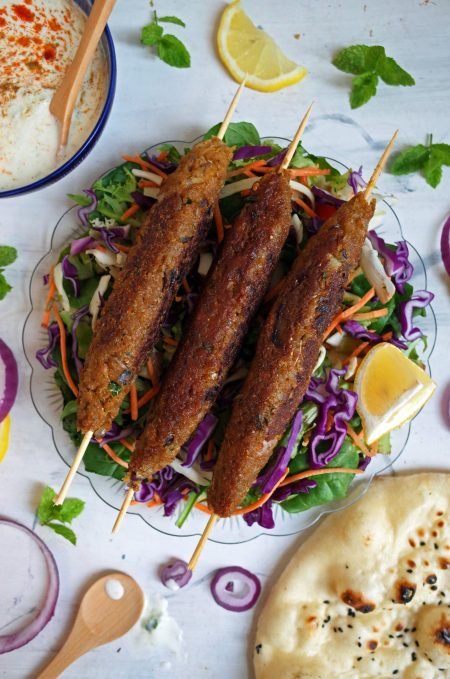 Vegan Seekh Kebabs made from Soy Chunks on a bed of salad