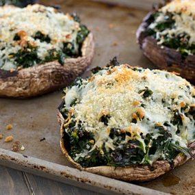 Kale-Stuffed Portabella Mushrooms on Baking Sheet
