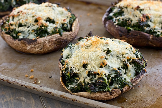 Kale-Stuffed Portabella Mushrooms on Baking Sheet