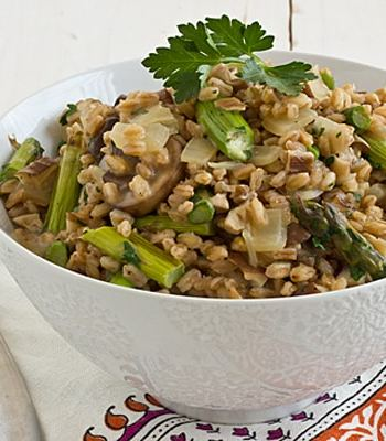 Farro Risotto with Wild Mushrooms and Asparagus