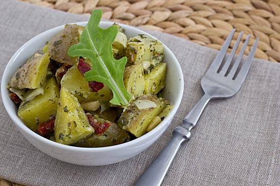 Pesto Potato Salad with Artichokes and Sun-Dried Tomatoes