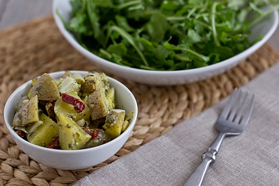 Pesto Potato Salad with Artichoke Hearts & Sun-Dried Tomatoes