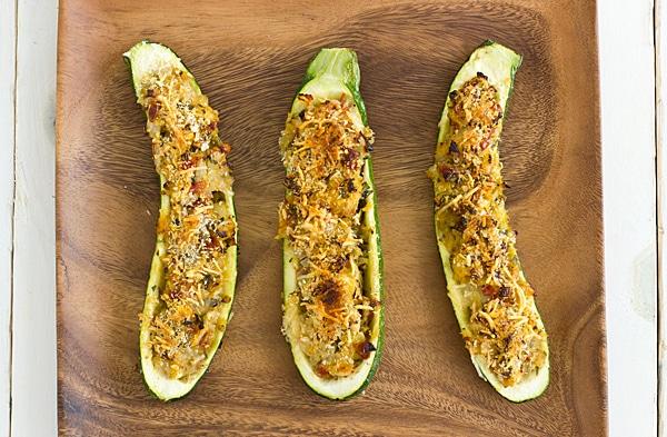 Vegetarian Stuffed Zucchini with Parmesan Panko