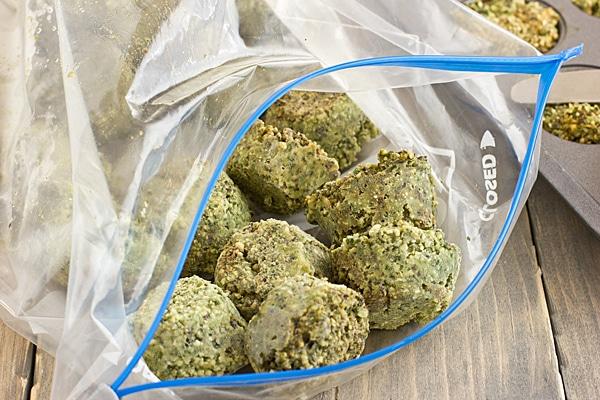 Pesto Cubes in Freezer Bag