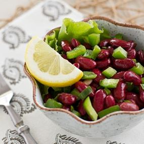 Mediterranean Kidney Bean Salad with Fork