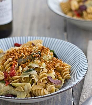 Mediterranean Style Rotini with Toasted Garlic Panko