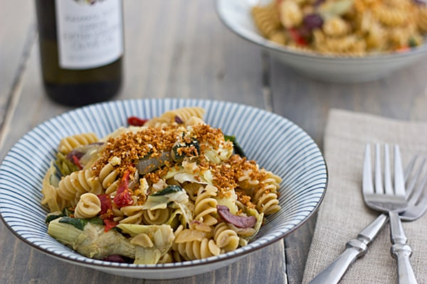 Mediterranean Style Rotini with Toasted Garlic Panko