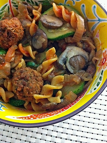 Pasta with Veggie Meatballs, Mushrooms, Zucchini, Onion