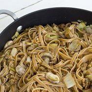 Wild Mushroom Fettucini with Smoked Apple Sage Sausage