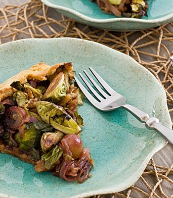 Brussels Sprout and Grape Galette Slice