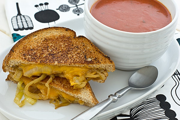 Drunken Grilled Cheese Sandwich with Soup