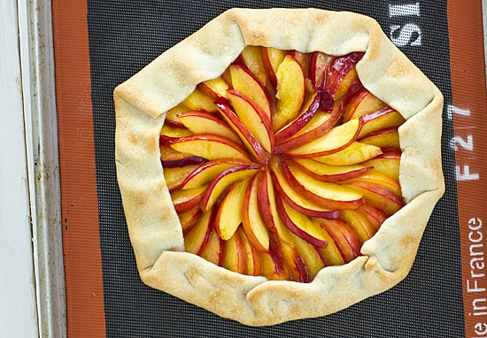 Honey and Nectarine Galette on Baking Sheet