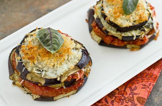 Lightened-Up Eggplant Parmesan Stacks
