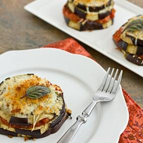 Lightened-Up Eggplant Parmesan Stacks on plate