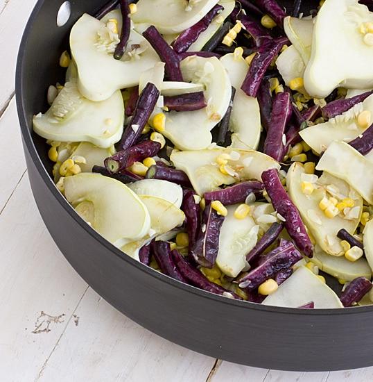 Pattypan Squash Saute with Long Beans & Corn