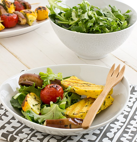 Grilled Veggie Salad with Basil Parmesan Polenta