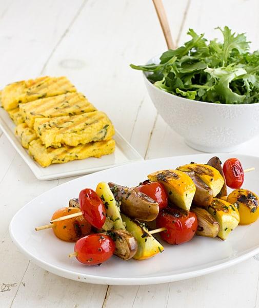 Grilled Veggie Salad with Parmesan Polenta