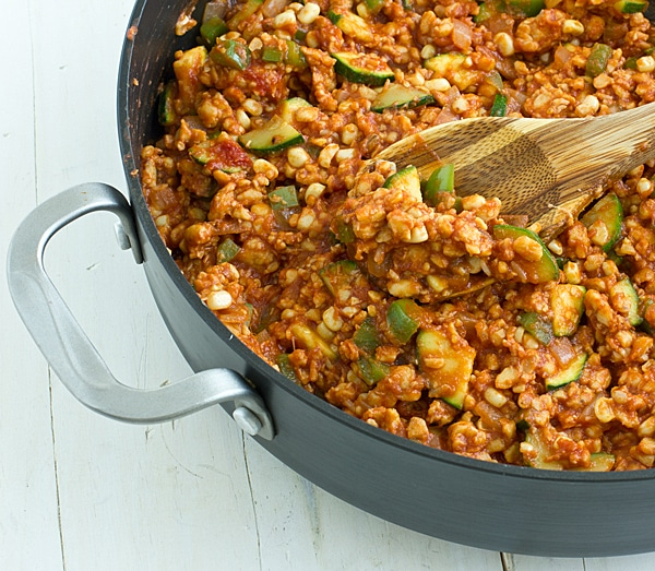 Veggie & Tempeh Sloppy Joes in Skillet