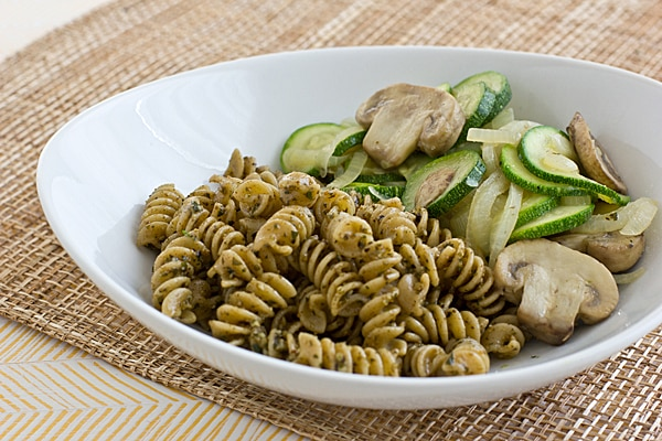 Whole-Wheat Rotini with Pesto & Sauteed Veggies