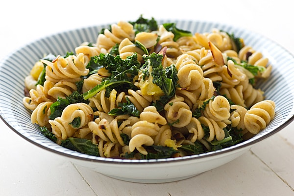 Roasted Acorn Squash Pasta with kale & Almonds