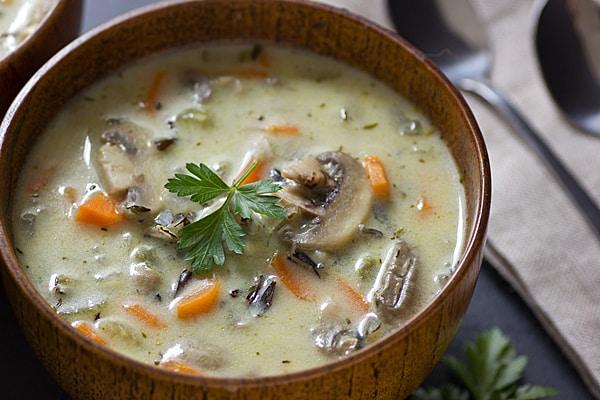 Vegetarian Creamy Wild Mushroom Rice Soup Recipe