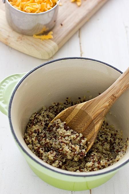 Quinoa in Le Creuset Pan