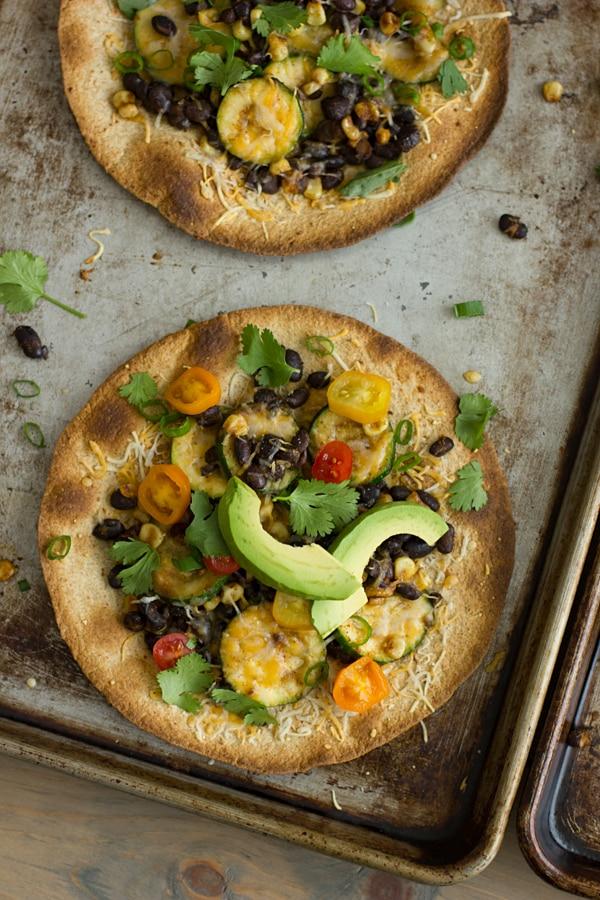 Black Bean & Veggie Baked Tostadas