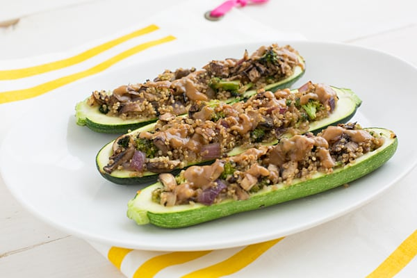 Stuffed Zucchini with Creamy Peanut Lime Sauce