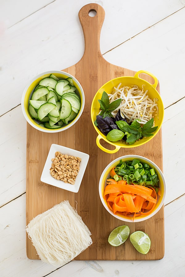 Thai Tofu and Noodle Salad Ingredients