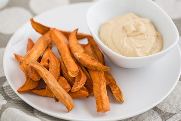 Raw Sweet Potato Fries with Chipotle Mayo