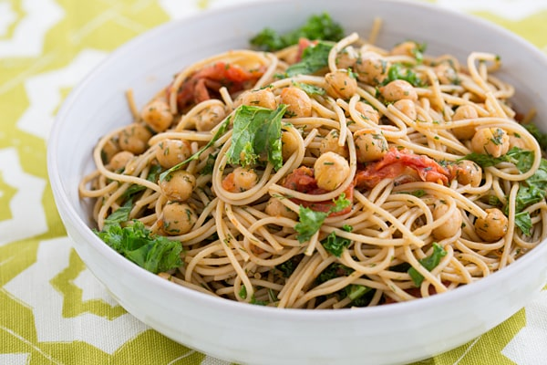 Roasted Tomato Spaghetti with Crispy Chickpeas and Dill