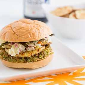 Teriyaki-Glazed Brown Rice & Edamame Burgers with Grilled Pineapple Recipe