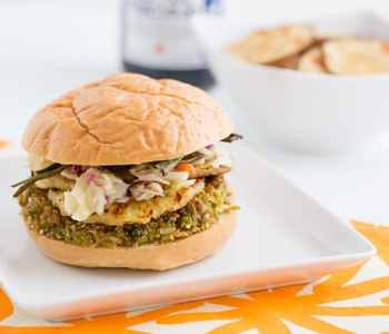 Teriyaki-Glazed Brown Rice & Edamame Burgers with Grilled Pineapple Recipe