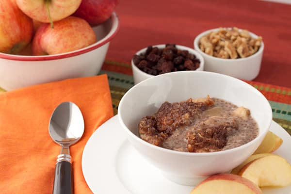 Crock Pot Apple Crumble Breakfast Pudding from Healthful Pursuit