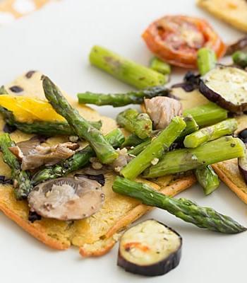 Kalamata Olive & Herb Socca with Roasted Vegetables
