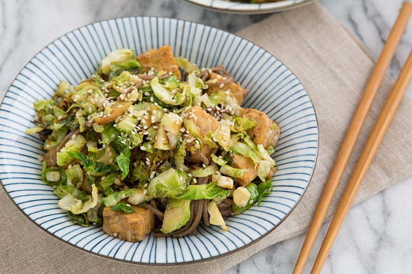 Brussels Sprout, Tempeh & Soba Noodle Skillet Recipe