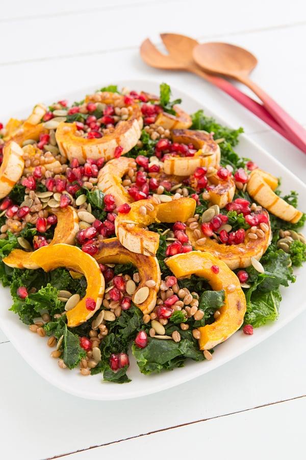 Kale and Delicata Squash Salad with Citrus-Maple Vinaigrette