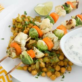 Roasted Vegetable Kebabs with Curried Chickpeas and Yogurt Sauce Recipe