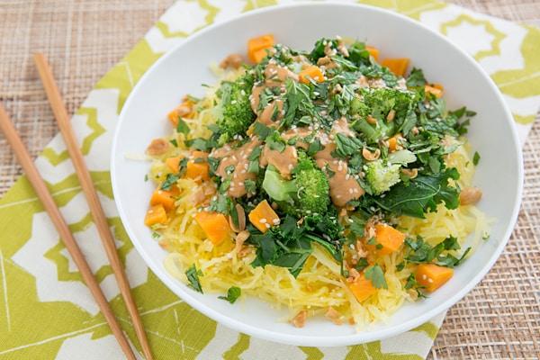 Thai Peanut Spaghetti Squash Veggie Bowl